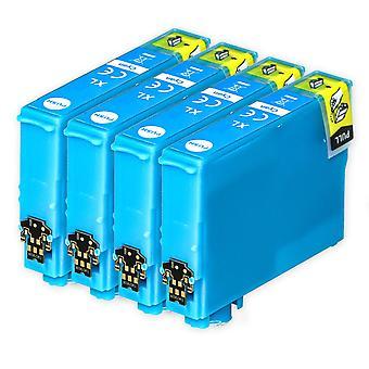 4 Cyan blækpatroner til at erstatte Epson 502XLC kompatibel / ikke-OEM fra Go Inks