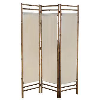 vidaXL 3-osainen taitettava huoneenjakaja bambu ja kangas 120 cm