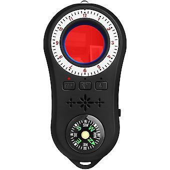 جاسوس كاشف كاميرا صغيرة كاشف الصوت علة جاسوس مكتشف مع بوصلة GPS فلاش ضوء الماسح الضوئي إشارة جهاز تعقب إشارة مكتشف المكونات الإلكترونية (أسود)