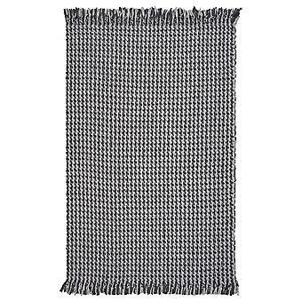 3' x 5' Grey Braided Wool Area Rug with Fringe