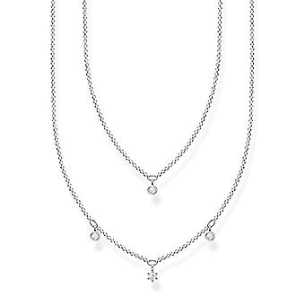 Thomas Sabo, kaksinkertainen kaulakoru naisille Sterling 925 hopea, valkoiset kivet, pituus 40-45 cm(2)