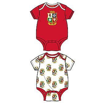 British & Irish Lions Rugby Baby 2 Pack Bodysuits  | Red/White | 2021 | 12-18 Months