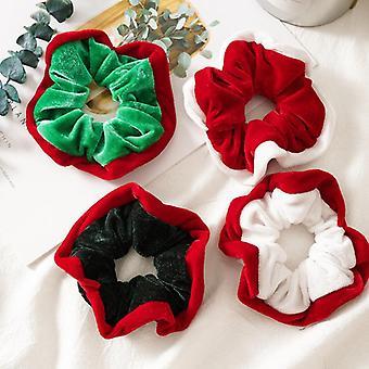 4Pcs girls' hair ring christmas pattern flannel christmas beam hair circle