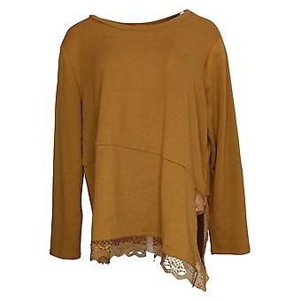 DG2 af Diane Gilman Women's Top Rib Knit Asymmetric Lace-Hem Gold 679871