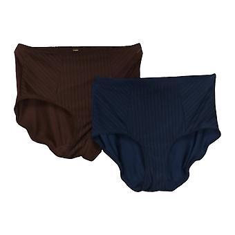 Rhonda Shear Slipje 2-Pack Gestreepte Mesh Pin-Up Panty Bruin 745938