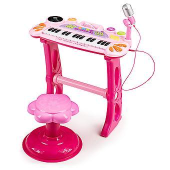 Kinder keyboard met MP3 microfoon & kruk – Roze