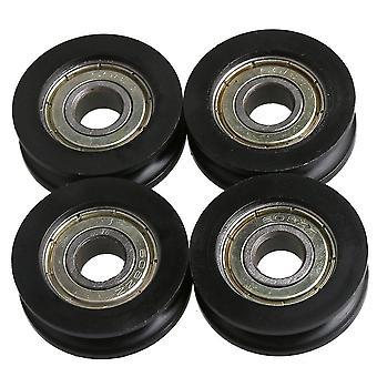 Pour 4pcs U-Type Groove Roulement Pulley Roues Noir pour Meubles 3x1cm WS190