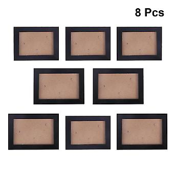 8Pcs sort 8pcs fotoramme sæt enkle kreative husstand soveværelse hængende fotoramme efterligning træ fotoramme sæt dt4052