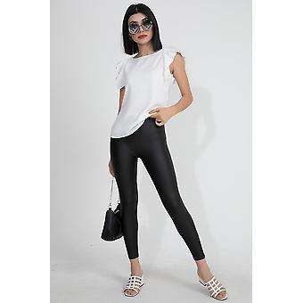 Boom naisten matta musta nahka leggingsit