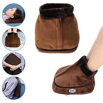 Uk plug 2 in 1 electric heated foot warmer cosy unisex velvet feet heated foot warmer massager big slipper foot heat warm massage shoes fa1170