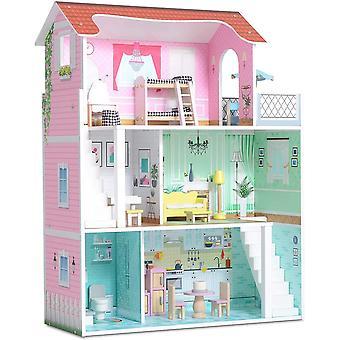 Wokex Holzpuppenhaus, enthält 20 Möbelstücke - Großes dreistöckiges Puppenhaus für Kinder