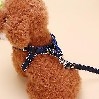 Pet Dog Nylon hám nyakörv 3db /készlet Állítható Kisállat Póráz Vontatási öv kötél