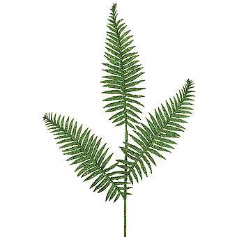 70cm Green Glittered Boston Fern Leaf Spray - Christmas Artificial Floristry Stem