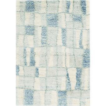 5'x8' Elfenbeinblaue Maschine gewebte abstrakte Blöcke Indoor Area Teppich