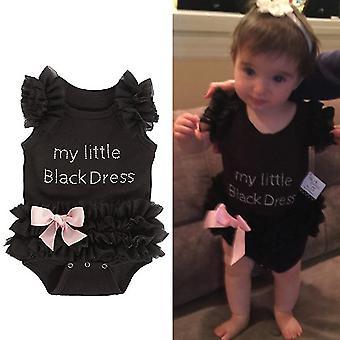 תינוקות קיץ אופנתי תינוקות בנות תחרה דפוס השמלה השחורה הקטנה שלי Rompers