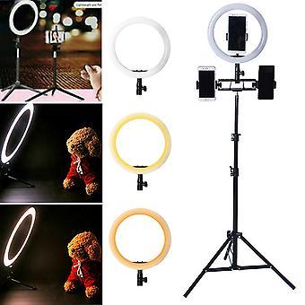 10 '' Led Ring Light avec trépied Support 1.6m, Support de téléphone Live Streaming