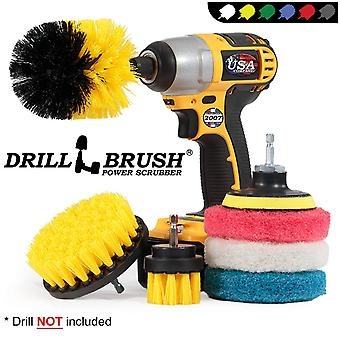Hot Sale Electric Drill Brush 4 Inch Scouring Pad 7 Piece Electric Drill Brush Head Set Wheel Cleaning Brush