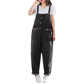 Loose Casual Overalls Woman Ripped Demin Pants Jeans
