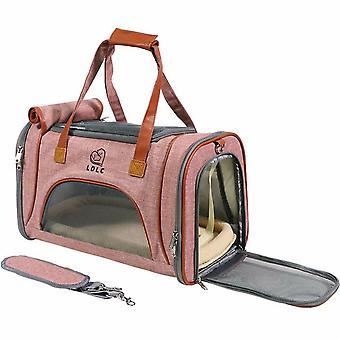 Portable Foldable Single-shoulder Pet Bag For Outing (light Pink)