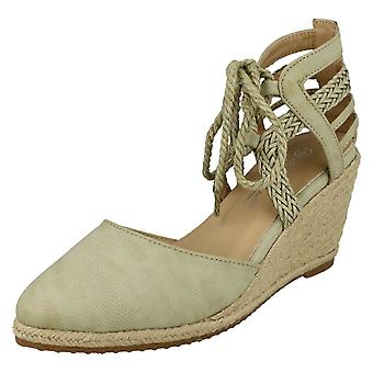 Ladies Anne Michelle Ankle Lace-Up Wedge Sandals