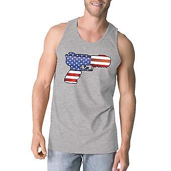Amerikanske Flag Pistol Herre Tank Top unik gave til pistol tilhængere