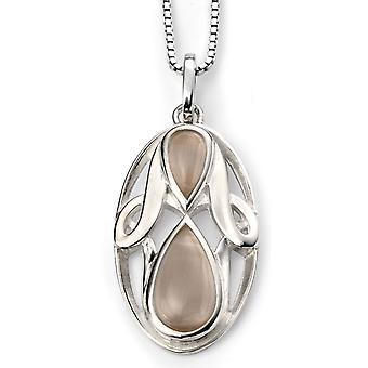 925 zilver verguld Rhodium kat ogen en ovale ketting