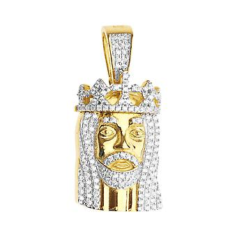 925 iced out sterling silver pendant - MINI JESUS gold