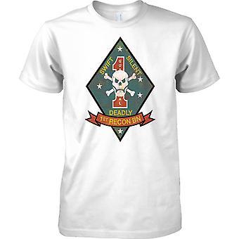 1ste recon bataljon USMC - Swift Silent Deadly - militaire insignes - Mens T Shirt