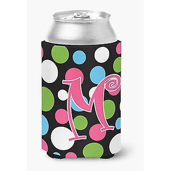 Monogramma iniziale lettera M - Polkadots e rosa lattina o bottiglia bevanda isolante