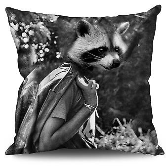 Racoon Face Cute Animal Linen Cushion 30cm x 30cm | Wellcoda