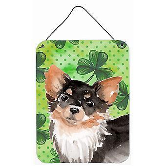 Langhaarige Chihuahua St. Patricks Wand oder Tür hängen Drucke