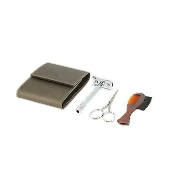 Dovo Travel Razor Set in Brown Leather Pouch 575056