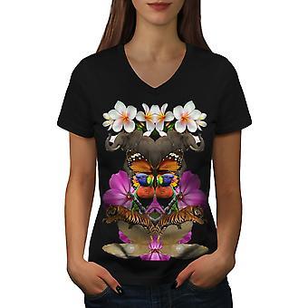 Random Collage Women BlackV-Neck T-shirt | Wellcoda