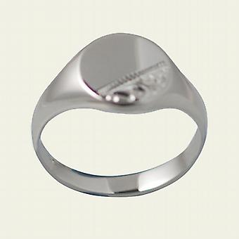 Silver 12x9mm solid hand engraved oval Signet Ring Size S