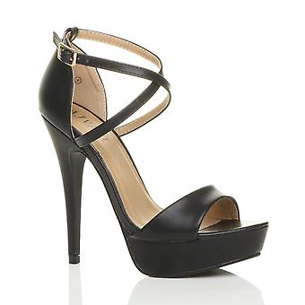 Ajvani womens platform high heel peep toe cross over strappy sandals shoes