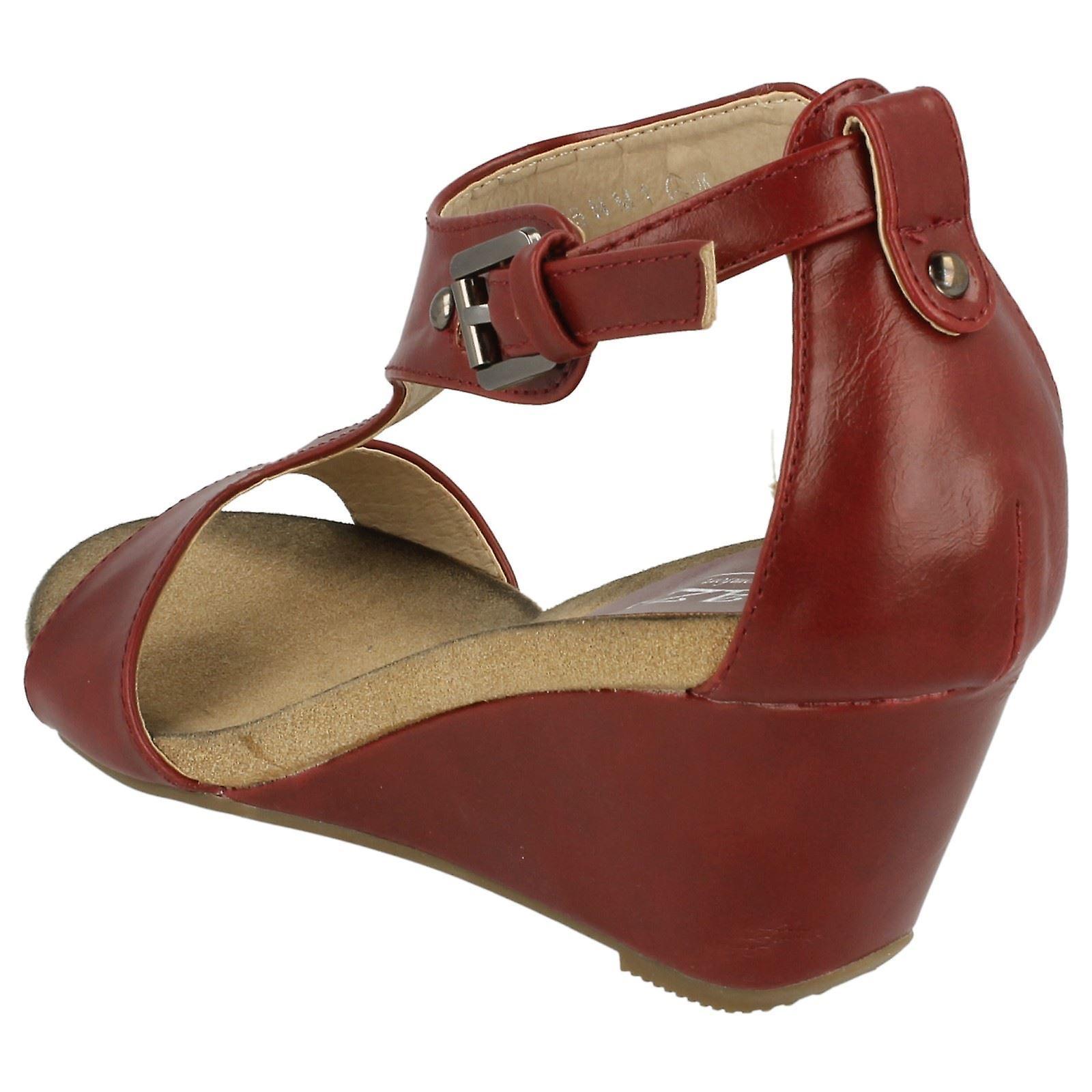 Ladies Eaze Open Toe T-bar Wedge Mules