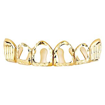 Gold Diamond cut Grillz - one size fits all - HOLLOW top