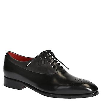 Chaussures de lacets en cuir noir halfbrogues