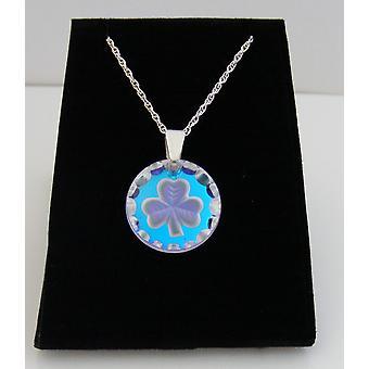 Ice Blue Round Shamrock Crystal Pendant