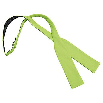 Lime Green Hopsack Linen Batwing Self Tie Bow Tie