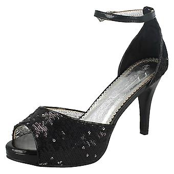 Ladies Spot On Low Heeled Sequin Sandals