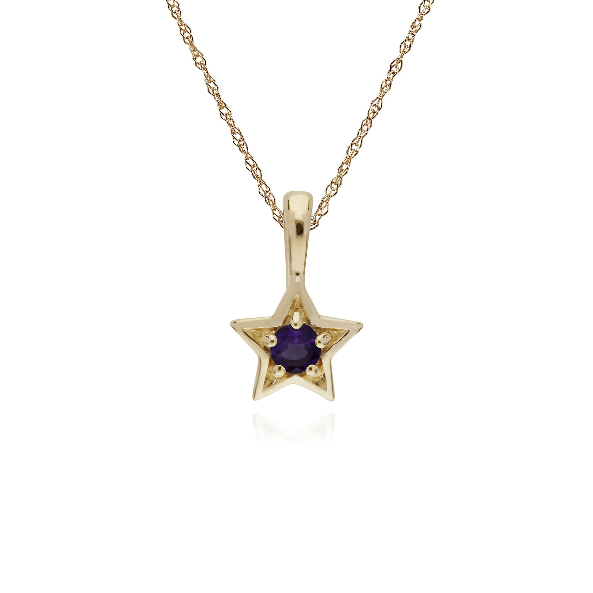 Gemondo 9ct Yellow Gold Amethyst Single Stone Star Pendant on 45cm Chain