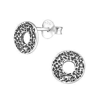 Circle - 925 Sterling Silver Plain Ear Studs - W31677X