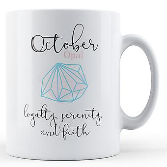 Outubro Opal Birthstone - caneca impressa