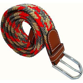 Bassin e Brown Stripe frastagliati elastico tessuto fibbia della cintura - rosso/grigio/Beige