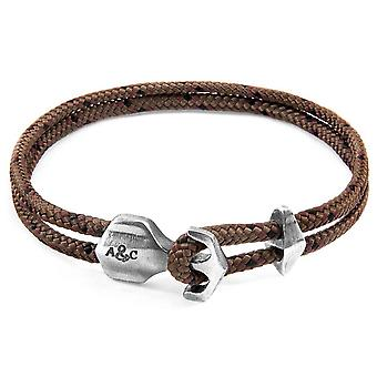 Anchor and Crew Delta Silver and Rope Bracelet - Brown