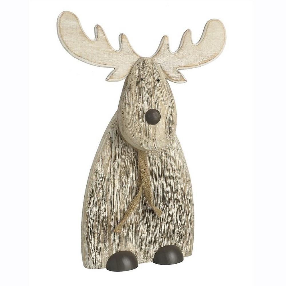 Standing Flat Carved Reindeer Decoration