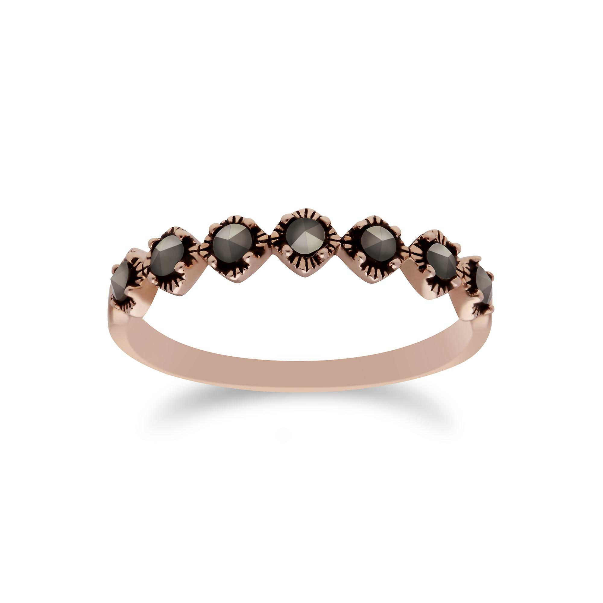 Gemondo Rose Gold Plated Sterling Silver Marcasite Half Eternity Ring