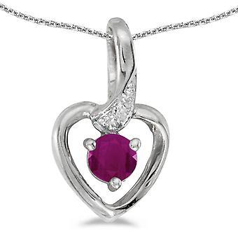 LXR 14k valkoinen kulta pyöreä rubiini ja timantti sydän riipus 0.24ct