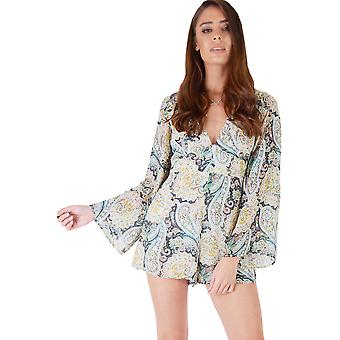 WYLDR Paisley Printed V-Neck Playsuit With Long Sleeves
